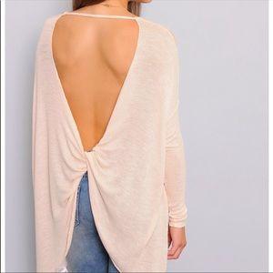 Free People open back twist light pink sweater